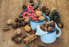 Traditional Christmas foods and decoration Royalty Free Stock Photography