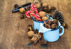 Traditional Christmas foods and decoration Royalty Free Stock Image