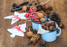 Traditional Christmas foods and decoration Stock Images