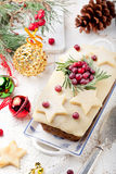 Traditional Christmas Fruit Cake pudding with marzipan and cranberry Stock Image