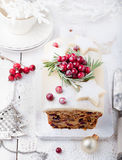 Traditional Christmas Fruit Cake pudding with marzipan and cranberry Royalty Free Stock Images