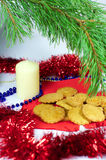 Traditional Christmas ginger cookies, vertical Royalty Free Stock Photos