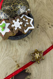 Traditional Christmas gingerbread cookies. Traditional snowflake and star shaped Christmas gingerbread cookies Stock Photo