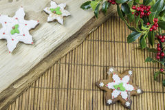 Traditional Christmas gingerbread cookies. Traditional star shaped Christmas gingerbread cookies Stock Photo