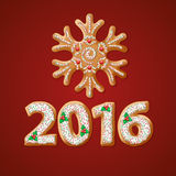 Traditional Christmas gingerbread 2016 greeting stock illustration
