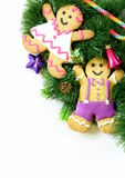 Traditional Christmas gingerbread man with festive decorations Stock Image