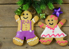 Traditional Christmas gingerbread man with festive decorations Royalty Free Stock Photography