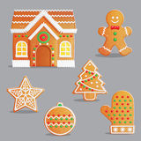 Traditional Christmas gingerbread treats illustration set. Traditional Catholic Christmas gingerbread treats with icing and sweet candy decorations, house Royalty Free Stock Photo