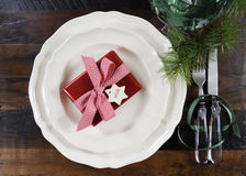 Traditional Christmas holiday table place setting Royalty Free Stock Photo