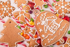 Traditional christmas homemade gingerbread cookies Royalty Free Stock Photography