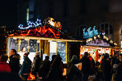 Traditional Christmas market atmosphere on French street Royalty Free Stock Photography