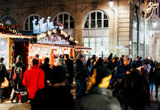 Traditional Christmas market atmosphere on French street Royalty Free Stock Images