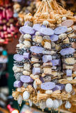 Traditional christmas market decoration, kiosk full of flavoured soaps Stock Images