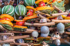 Traditional christmas market decoration, kiosk full of fruity flavours Royalty Free Stock Image