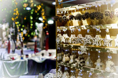 Traditional Christmas market with handmade souvenirs Royalty Free Stock Photos