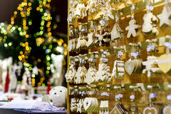Traditional Christmas market with handmade souvenirs Stock Photography