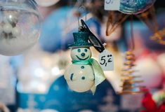 Traditional Christmas market with handmade souvenirs, Strasbourg. Alsace Stock Photo