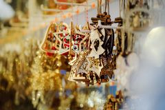 Traditional Christmas market with handmade souvenirs, Strasbourg. Alsace Stock Images
