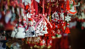 Traditional Christmas market with handmade souvenirs, Strasbourg stock image