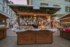 Traditional christmas market in the historic center of Bozen stock images