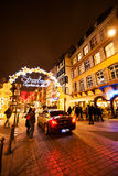 Traditional Christmas market in the historic Strasbourg France Stock Photos