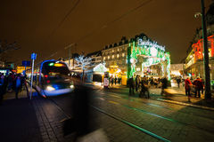 Traditional Christmas market in the historic Strasbourg France Royalty Free Stock Photos