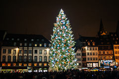 Traditional Christmas market in the historic Strasbourg France Royalty Free Stock Images