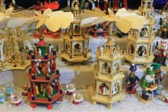 Traditional Christmas Market in Luxembourg. Ville. Wooden pyramides with crèche and saints Stock Photography