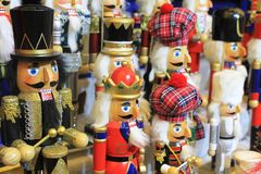 Traditional Christmas Market in Luxembourg. Ville. Wooden statutes of soldiers, nutcrackers or grandfathers Stock Photo