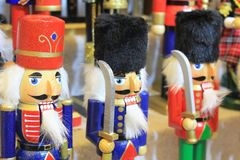 Traditional Christmas Market in Luxembourg. Ville. Wooden statutes of soldiers, nutcrackers or grandfathers Royalty Free Stock Photos