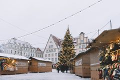 Traditional Christmas market at the Town Hall square in Tallinn stock image