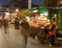 Traditional Christmas market near Cathedral. Barcelona Stock Photos