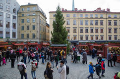 Traditional Christmas market in the old town in Stockholm, Swede Stock Images