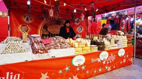 Traditional Christmas market in Piazza Walther Royalty Free Stock Photo