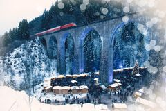 Traditional christmas market in the Ravenna gorge, Germany. royalty free stock image