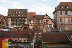 The traditional christmas market in the square of Colmar Stock Photography