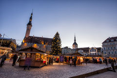 Traditional Christmas market in Tallinn old town. TALLINN, ESTONIA - DECEMBER 12, 2015: Traditional Christmas market in Tallinn old town. HDR image. Long time Royalty Free Stock Images