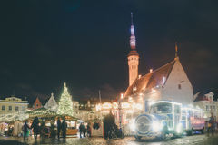 Traditional christmas market in Tallinn old town. TALLINN, ESTONIA - NOVEMBER 20, 2016: Traditional christmas market in Tallinn old town. People enjoy winter Stock Image