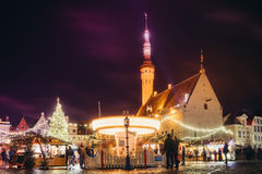 Traditional christmas market in Tallinn old town. TALLINN, ESTONIA - NOVEMBER 20, 2016: Traditional christmas market in Tallinn old town. People enjoy winter Stock Images