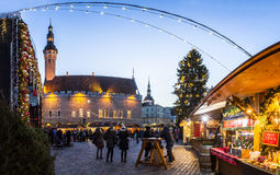 Traditional Christmas market in Tallinn old town. Stock Image