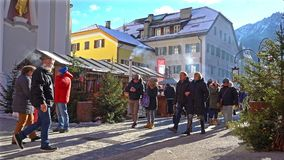 Traditional Christmas market. The traditional Christmas market in San Candido, Italy stock footage