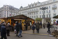 Traditional christmas markets in Budapest at Vorosmarty square (Vorosmarty ter) Stock Photos