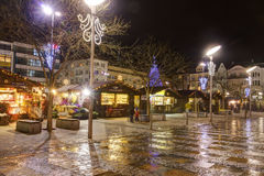 Traditional Christmas markets in city Ostrava at Masaryk square (Masarykovo namesti) at night Stock Photo