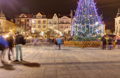 Traditional Christmas markets in city Ostrava at Masaryk square (Masarykovo namesti) at night Royalty Free Stock Photos