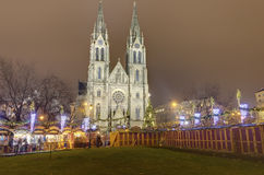 Traditional Christmas markets at Peace square in front of Saint Ludmila Church. Royalty Free Stock Photos