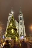 Traditional Christmas markets at Peace square in front of Saint Ludmila Church. Royalty Free Stock Images
