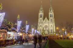 Traditional Christmas markets at Peace square in front of Saint Ludmila Church. Royalty Free Stock Photography