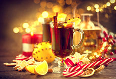 Traditional Christmas mulled wine hot drink. Holiday Christmas table Stock Photo