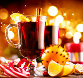 Traditional Christmas mulled wine hot drink. Holiday Christmas table Royalty Free Stock Photo