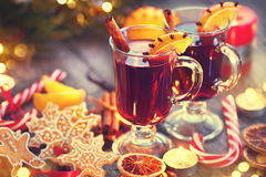 Traditional Christmas mulled wine hot drink. Holiday Christmas table Stock Image